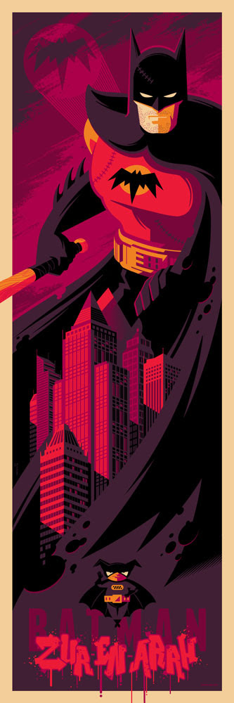 "「バットマン(Zur En Arrh)」 Batman (Zur En Arrh)  by Tom Whalen.  12""x36"" screen print.  Signed & Hand numbered. Edition of 150.  Printed by D&L Screenprinting.  US$45"