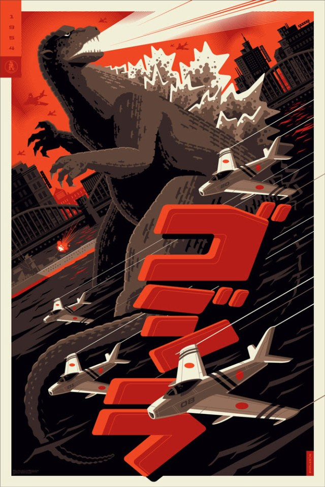 "「ゴジラ(1954)」 Godzilla  by Tom Whalen.  24""x36"" screen print.  Signed & Hand numbered.  Edition of 250.  Printed by D&L Screenprinting.  US$50"