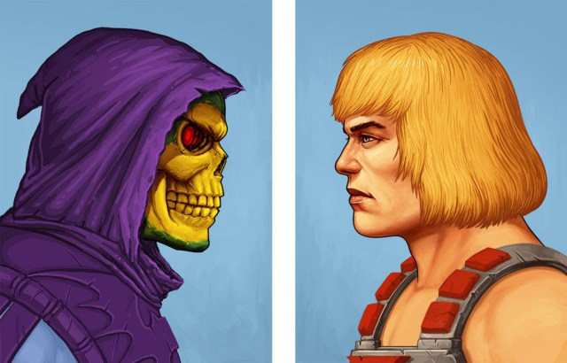 「ヒーマン/スケルター」ポートレート He-Man / Skeletor Portraits  by Mike Mitchell.  12″x16″ screen prints. Hand numbered & Signed.  Editions of 165.  Printed by Static Medium.  Sold separately. US$60 each