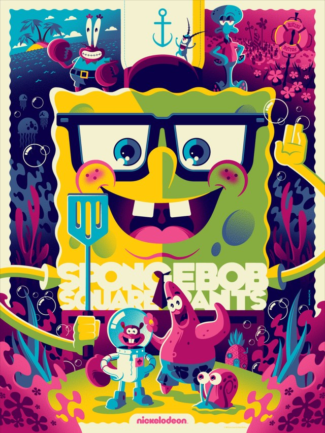 "「スポンジ・ボブ」バリアント Spongebob Squarepants (Variant) by Tom Whalen. 18""x24"" screen print. Hand numbered. Edition of 175. Printed by D&L Screenprinting. US$60"