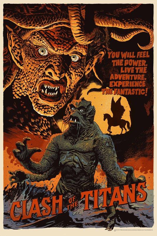 """「タイタンの戦い」Clash Of The Titans Poster by Francesco Francavilla. 24""""x36"""" screen print. Hand numbered. Edition of 275.  Printed by D&L Screenprinting.  US$55"""