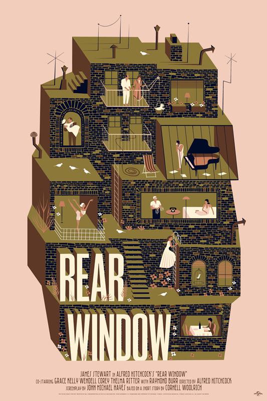 """「裏窓」レギュラー Rear Window Regular Poster by Adam Simpson. 24""""x36""""screen print. Hand numbered. Edition of 225.  Printed by D&L Screenprinting.  US$45"""