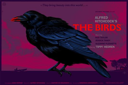"""「鳥」バリアント The Birds  Variant Poster by Laurent Durieux.  36""""x24"""" screen print. Hand numbered. Edition of 150.  Printed by D&L Screenprinting.  US$90"""