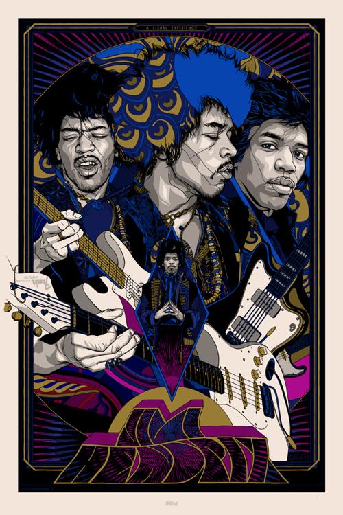 Jimi Hendrix  Variant Poster by Tyler Stout. 24″ x 36″ screenprint. editon of 200 US$110