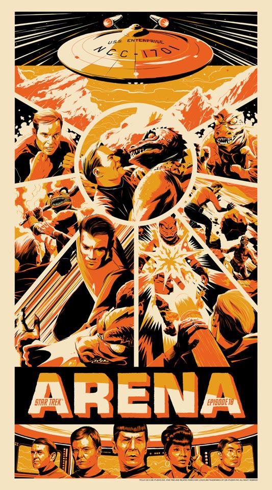 """「宇宙大作戦:怪獣ゴーンとの対決」Star Trek: Arena Poster by Matt Taylor 20"""" x 36"""" screen print. Hand numbered.  Edition of 175. Printed by D&L Screenprinting.  US$45"""