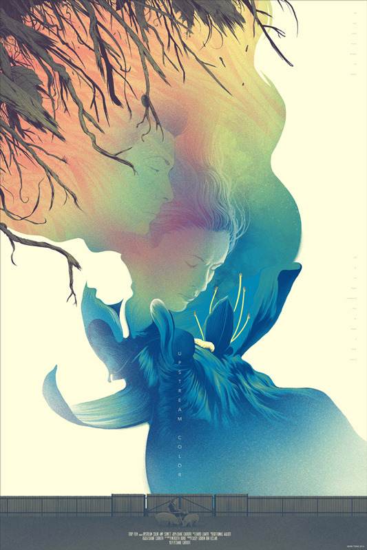 "Upstream Color Poster by Kevin Tong.  24""x36"" screen print. Hand numbered.  Edition of 215.  Printed by D&L Screenprinting.  US$45"