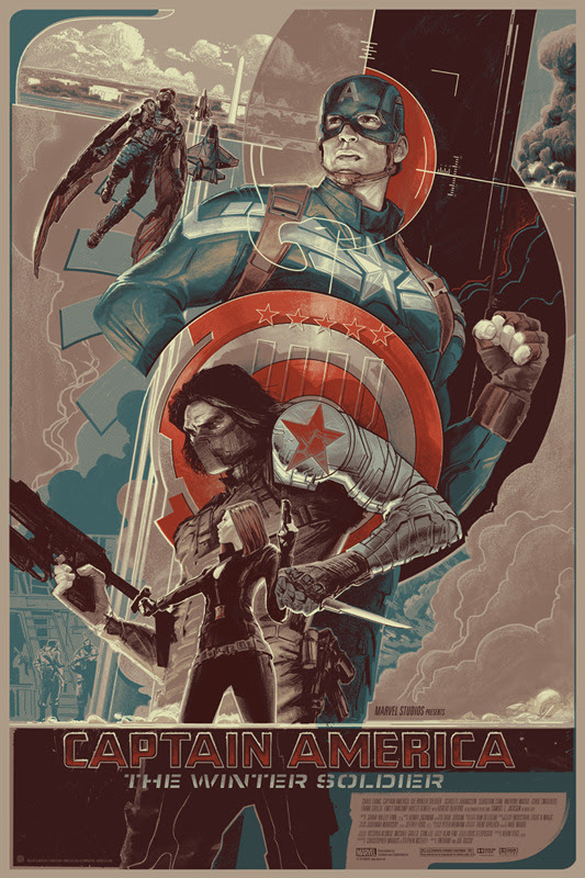 """「キャプテン・アメリカ ウィンターソルジャー」バリアント  CAPTAIN AMERICA: THE WINTER SOLDIER Variant Poster by Rich Kelly.  24""""x36"""" screen print. Hand numbered. Edition of 225.  Printed by D&L Screenprinting.  US$70"""