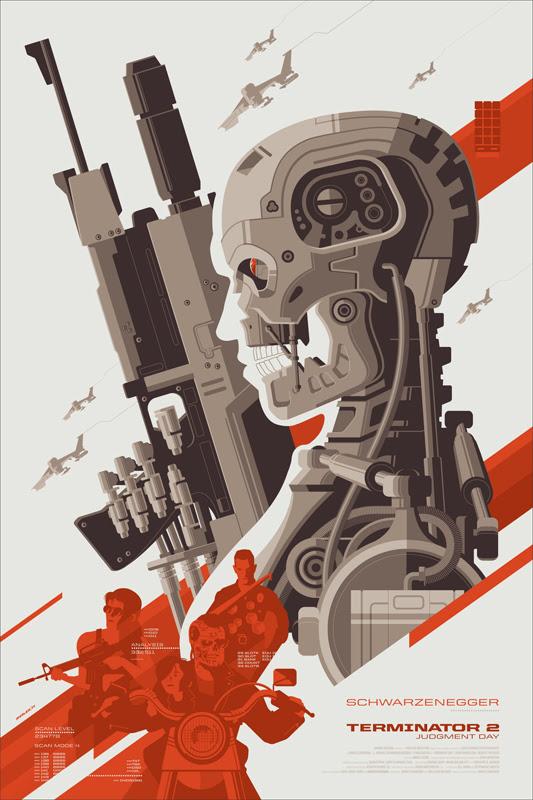 """「ターミネーター2」Terminator 2  Judgment Day Poster by Tom Whalen.  24""""x36"""" screen print.  Hand numbered. Edition of 425.  Printed by D&L Screenprinting.  US$50"""