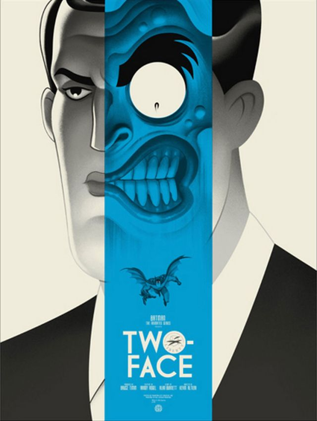"""「トゥー・フェイス」バリアント Two-Face Variant Poster by Phantom City Creative.18""""x24""""  Edition of 150 US$65"""