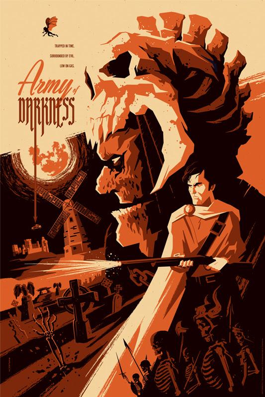 """「死霊のはらわたIII キャプテン・スーパーマーケット」 ARMY OF DARKNESS Variant Poster by Tom Whalen.  24""""x36"""" screen print. Hand numbered.  Edition of 125.  Printed by D&L Screenprinting.  US$65"""