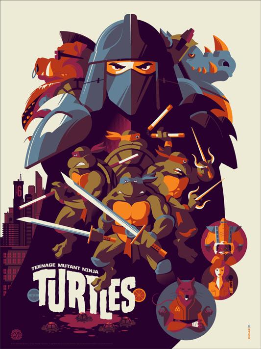 """「ティーンエイジ・ミュータント・ニンジャ・タートルズ」 Teenage Mutant Ninja Turtles Poster by Tom Whalen.  18""""x24"""" screen print.  Hand numbered. Edition of 300.  Printed by D&L Screenprinting.  US$45"""