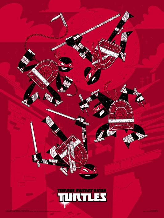 """「ティーンエイジ・ミュータント・ニンジャ・タートルズ」 Poster by Andrew Kolb.  18""""x24"""" screen print.  Hand numbered. Edition of 175.  Printed by D&L Screenprinting.  US$45"""