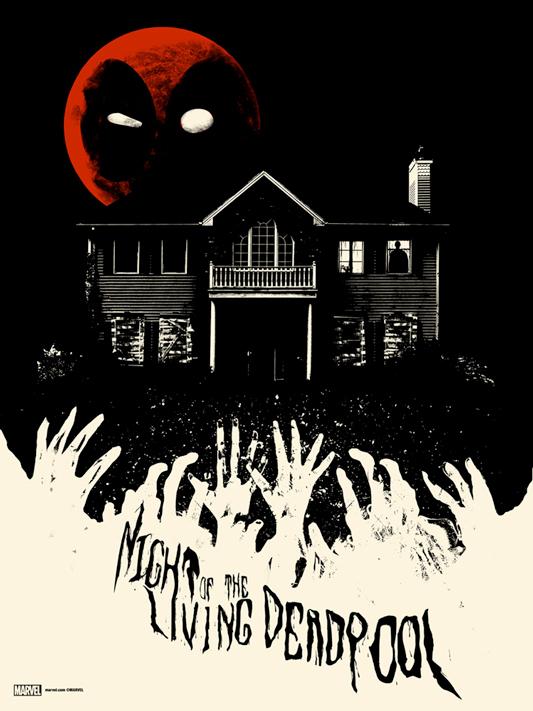 """「ナイト・オブ・ザ・リビングデッドプール」 NIGHT OF THE LIVING DEADPOOL  Poster by Jay Shaw.  18""""x24"""" screen print. Hand numbered. Edition of 175.  Printed by D&L Screenprinting.  US$40"""