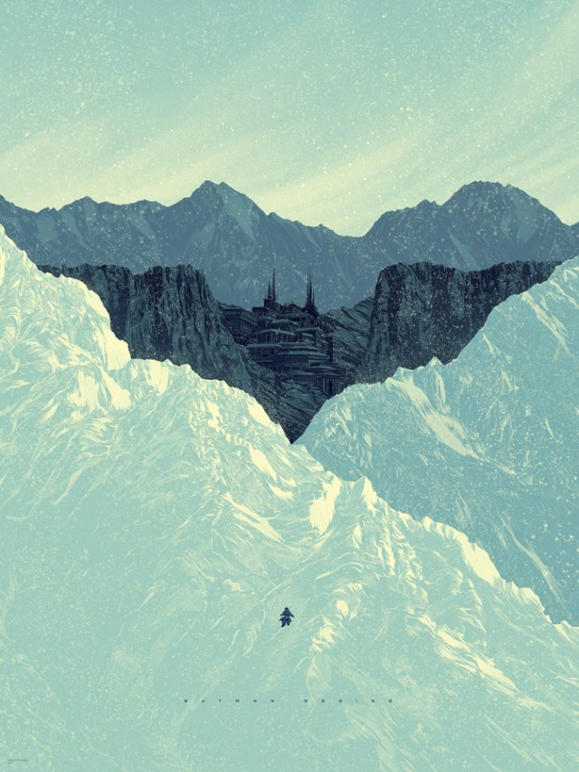 "「バットマン ビギンズ」 Batman Begins  by Kevin Tong.  18""x24"" screen print.  Hand Numbered.  Edition of 275.  Printed by D&L Screenprinting.  US$45"