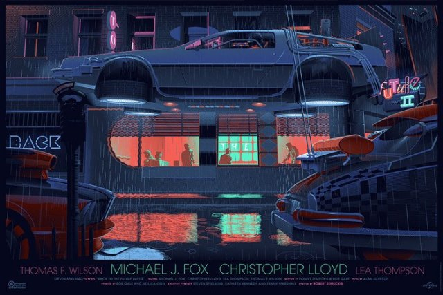 """「バック・トゥ・ザ・フューチャー PART2」 Back to the Future Part II By Laurent Durieux 36""""x24"""" screen print. Hand numbered. Signed by Laurent Durieux.  Edition of 575. Printed  by D&L Screen Printing."""
