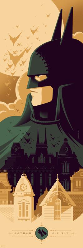 """「バットマン:ゴッサム・バイ・ガスライト」 Gotham by Gaslight  by Tom Whalen. 12""""x36"""" screen print. Hand Numbered.  Edition of 250.  Printed by D&L Screenprinting.  US$45"""