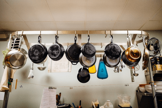 pots and pans hanging. great for a rainy day activity.