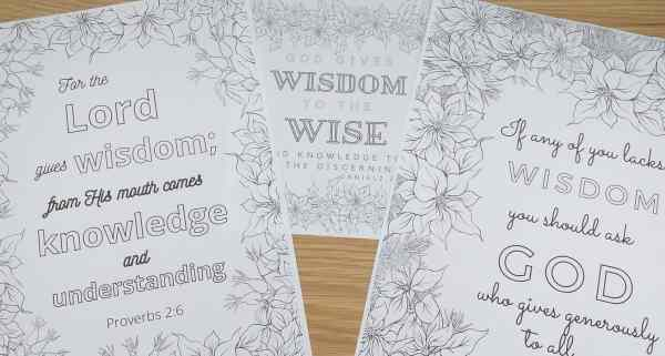 Wisdom scripture colouring pages
