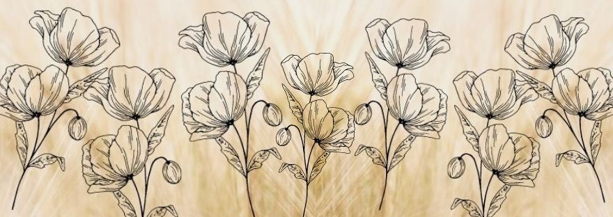 Outline of poppies on a plain beige background