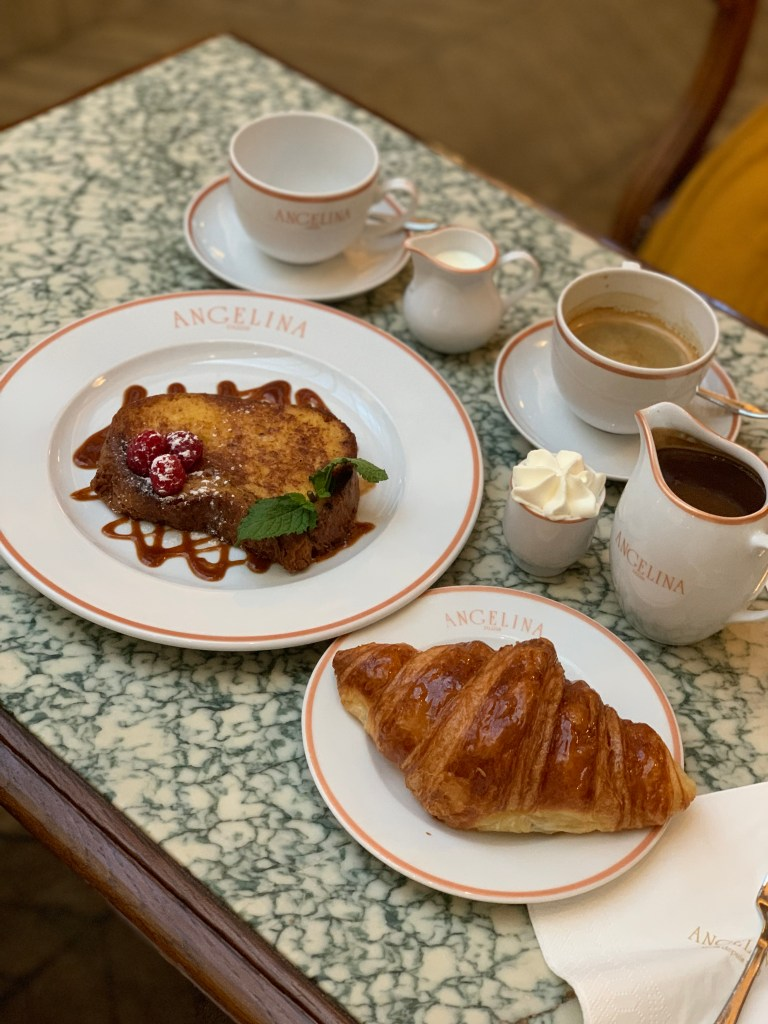 French toast and Croissant Angelina Paris
