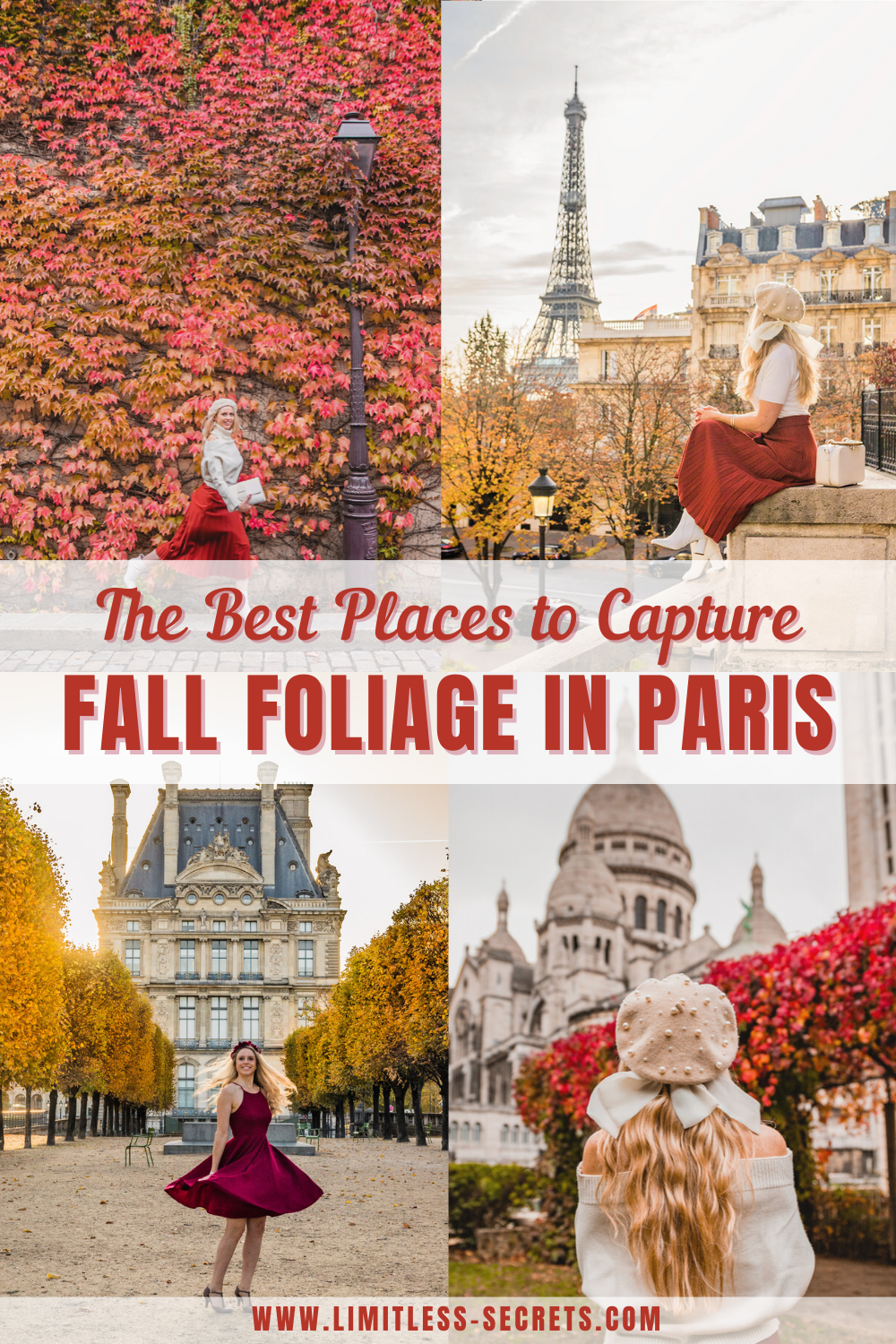The best places to capture Fall Foliage in Paris. Paris takes the most beautiful orange hues in fall and it's a season you should not miss! So in case you are planning to visit Paris in fall, I have prepared for you the list of all the best places to capture fall foliage in Paris! You will know all the best instagram photo spots in Paris to chase in fall with their exact location as well as my local photography tips! #paris #fall #autumn #france Paris is autumn | Paris travel guide | Paris photography | Where to see fall colors in Paris