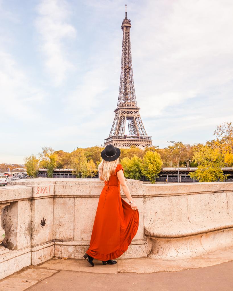 Bridge of Eiffel Tower view from Bir Hakeim in Paris in fall