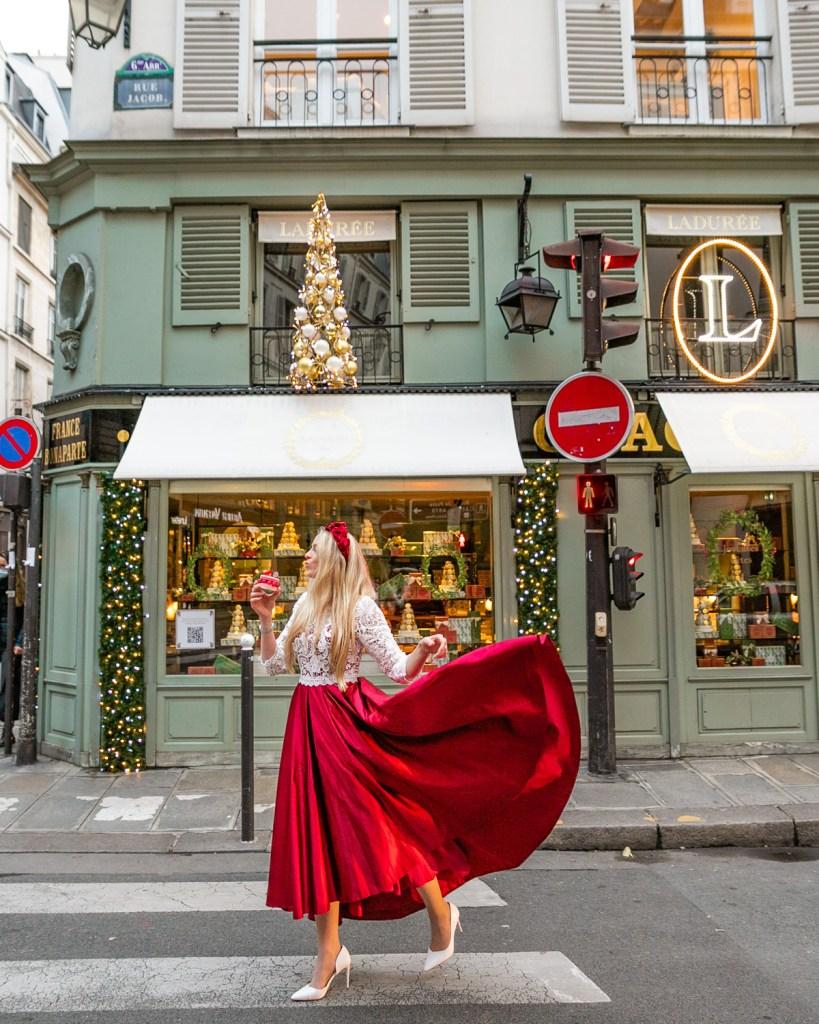 Christmas decorations at Ladurée Bonaparte - Christmas in Paris