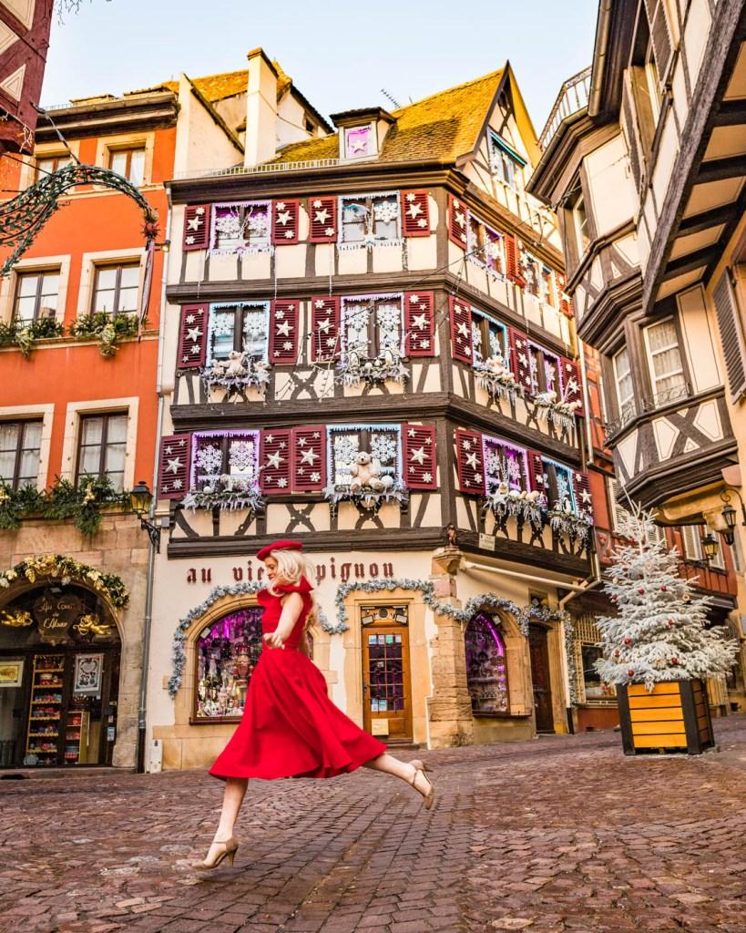 """Souvenir shop """"Au Vieux Pignon"""" during Christmas - Colmar, Alsace"""