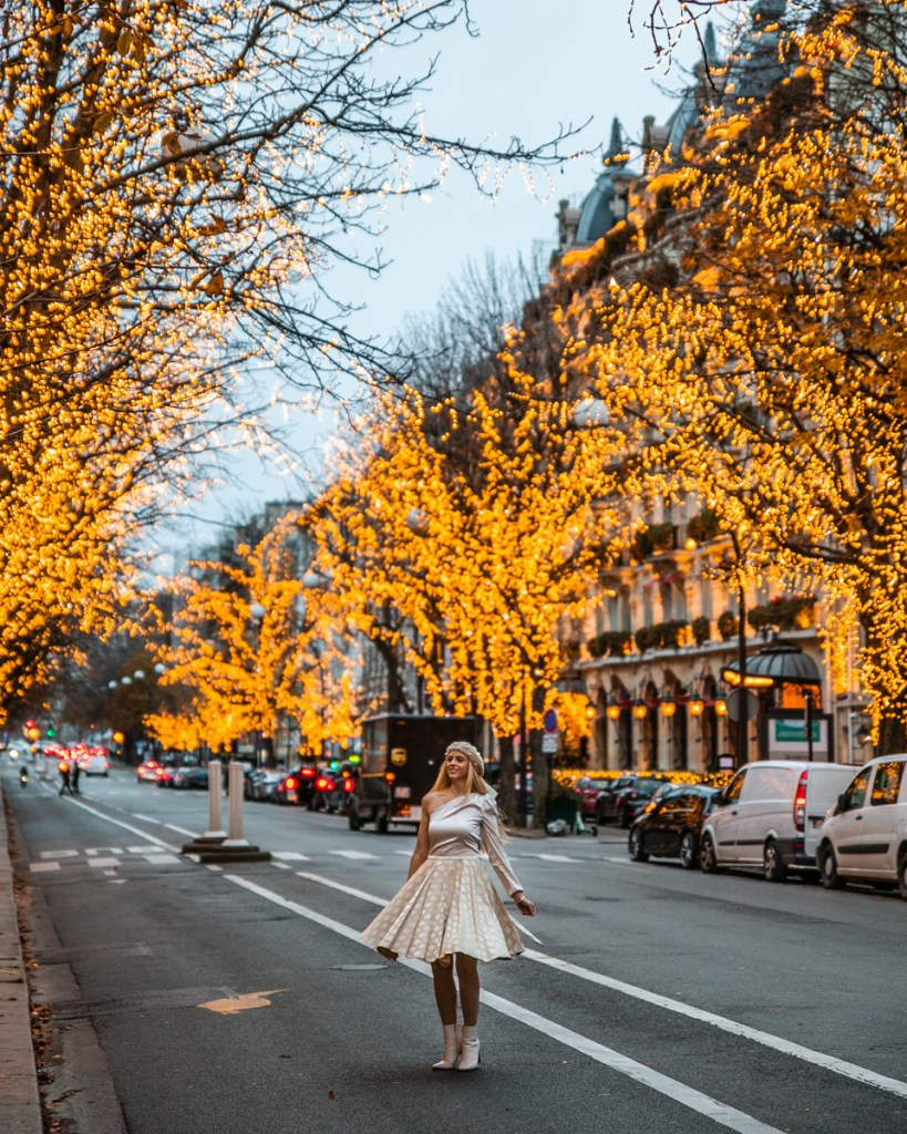 Avenue Montaigne with Christmas lights - Christmas in Paris