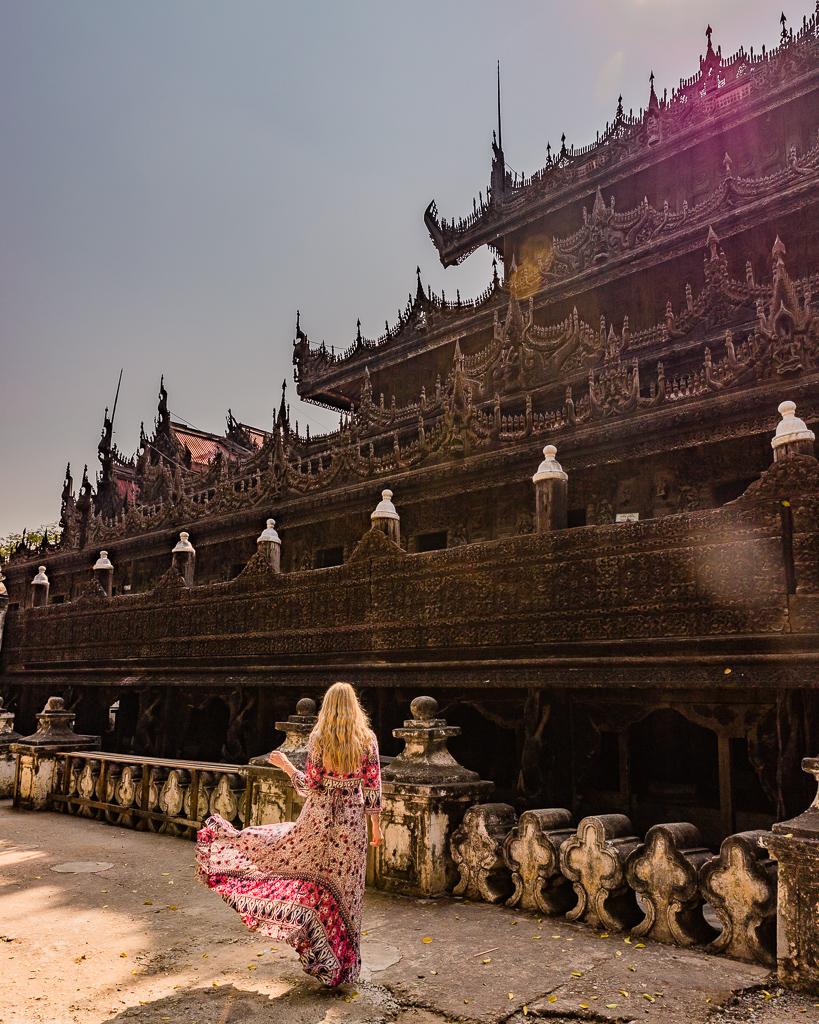 Shwenandaw Monastery in Mandalay, Myanmar