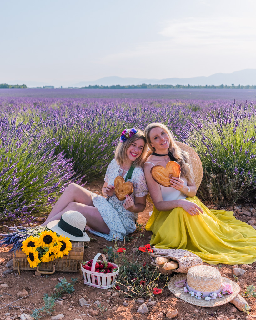 Picnic in the lavender fields in Provence, France