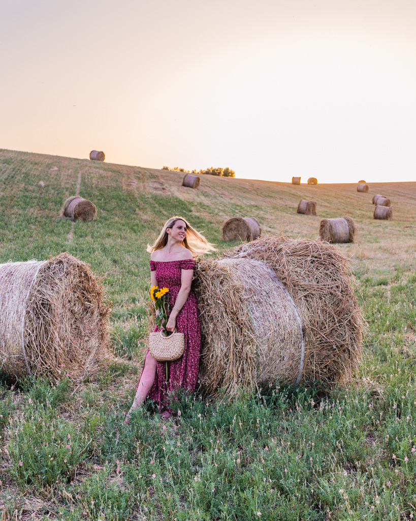 Wheat field with haystacks in Provence, France