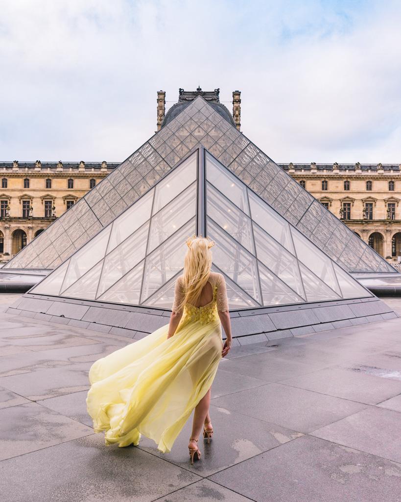 Photoshoot at the Louvre pyramid, Paris