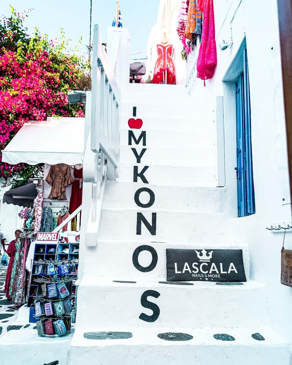 Staircase I love Mykonos in Mykonos