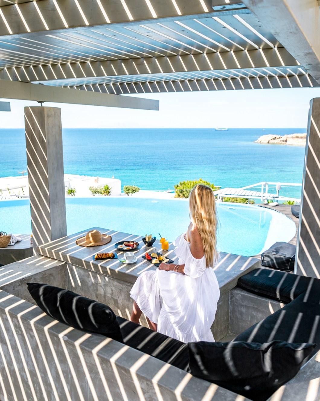 Pool cafe-bar at the Votsalaki Mykonos Boutique Resort