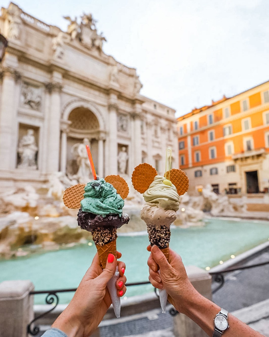 Eating a gelato at the Trevi Fountain in Rome