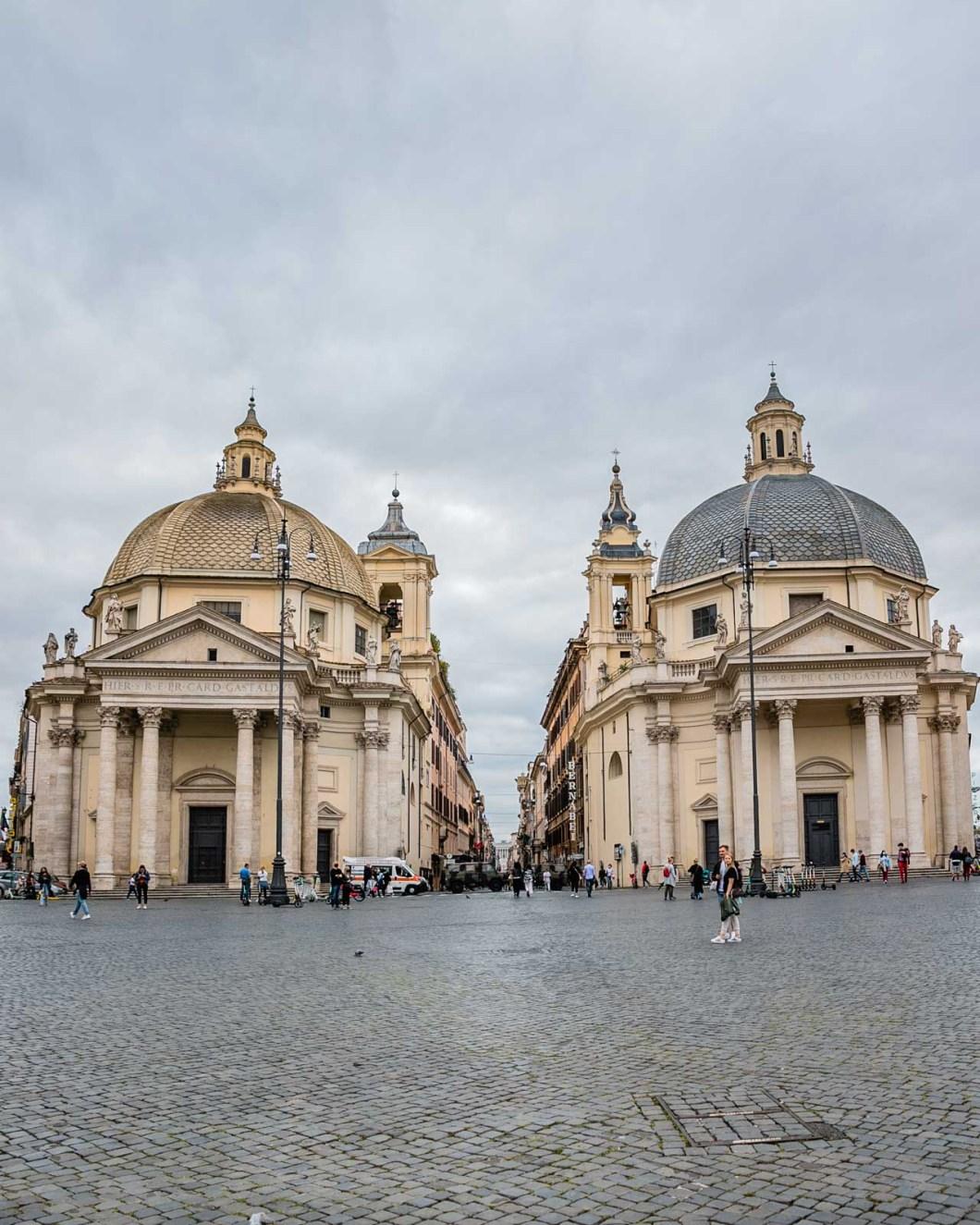 Twin churches of Santa Maria dei Miracoli and Santa Maria in Montesanto in Piazza del Popolo in Rome