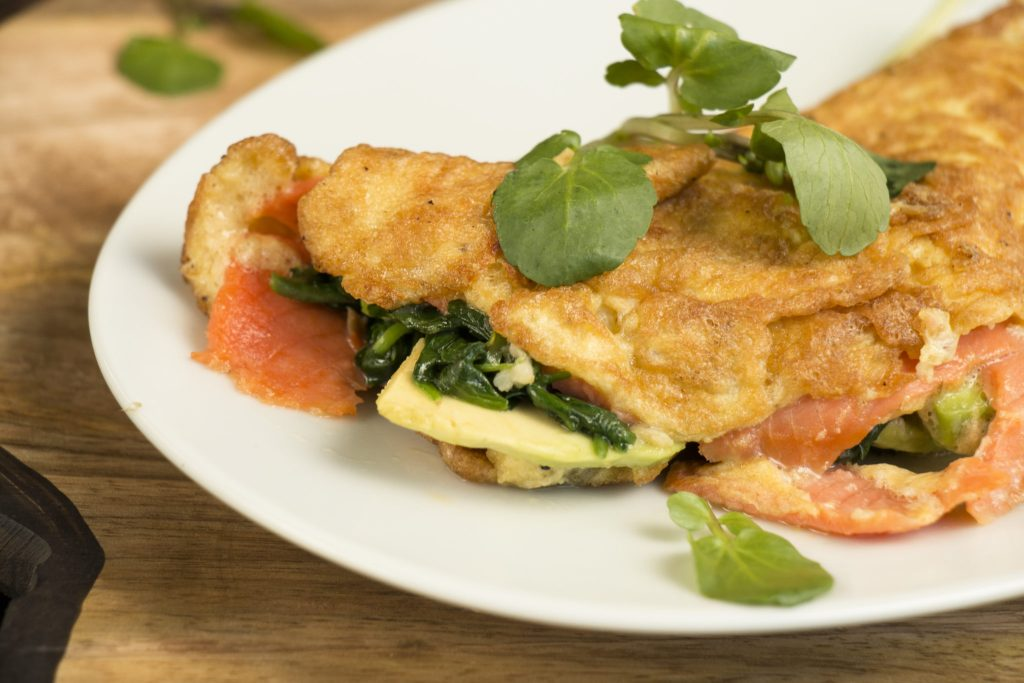 HOW TO MAKE SMOKED SALMON, WATERCRESS, AND AVOCADO OMELETTE
