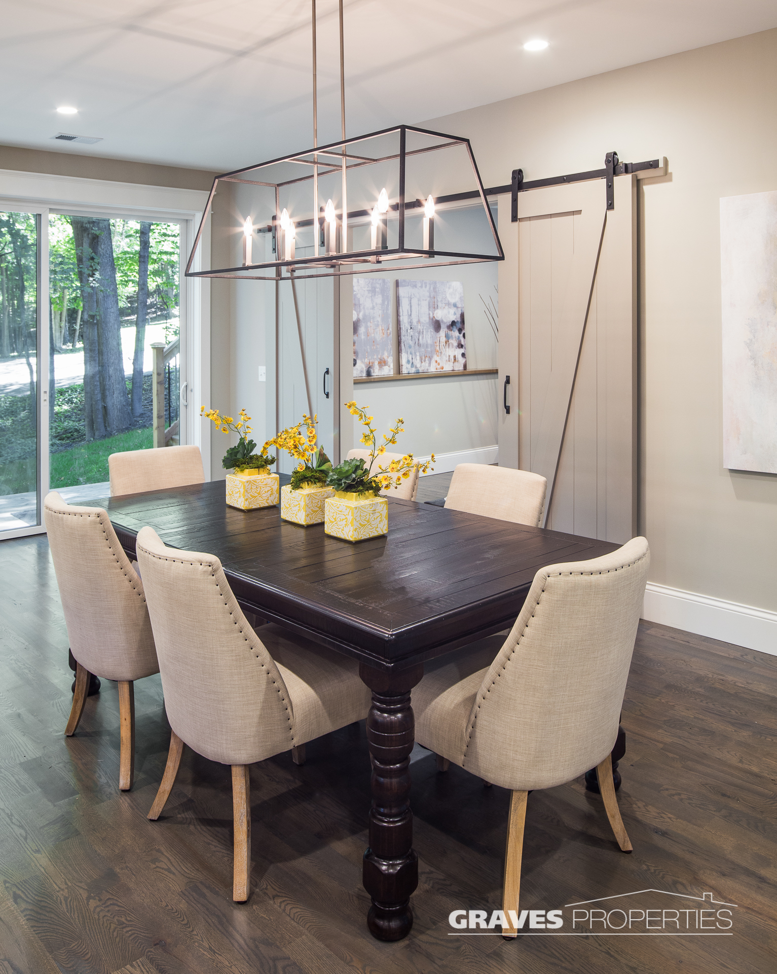Dining Area with Barn Door