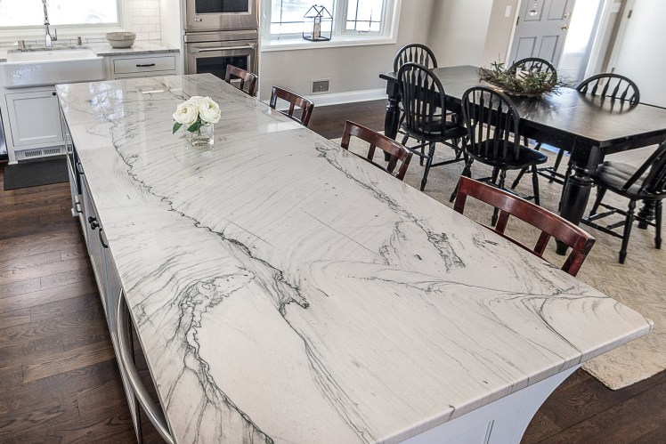 Solid Quartzite kitchen island