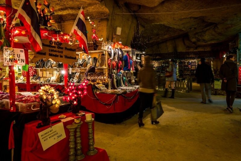 Christmas market in cave