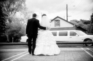 Picture of bride and groom with a Connecticut Limousine