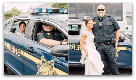 Image of a Cop Car Wedding Transportation