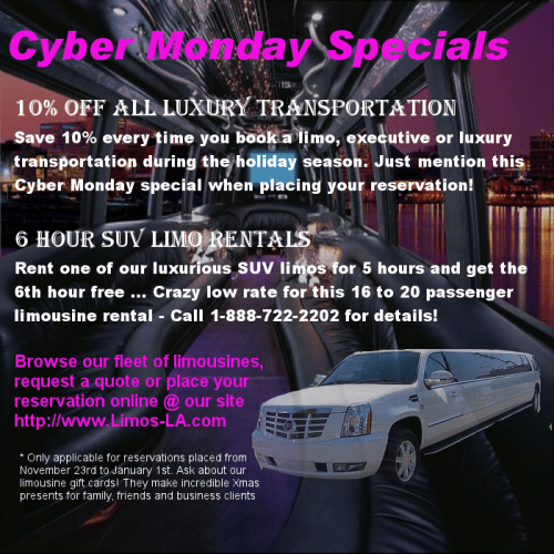 Los Angeles & Orange County Limousine Cyber Monday Deals