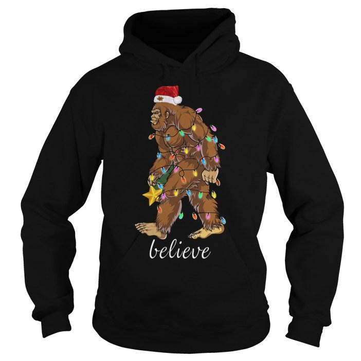 Bigfoot Santa believe Christmas shirt