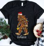Bigfoot Santa believe Christmas shirt