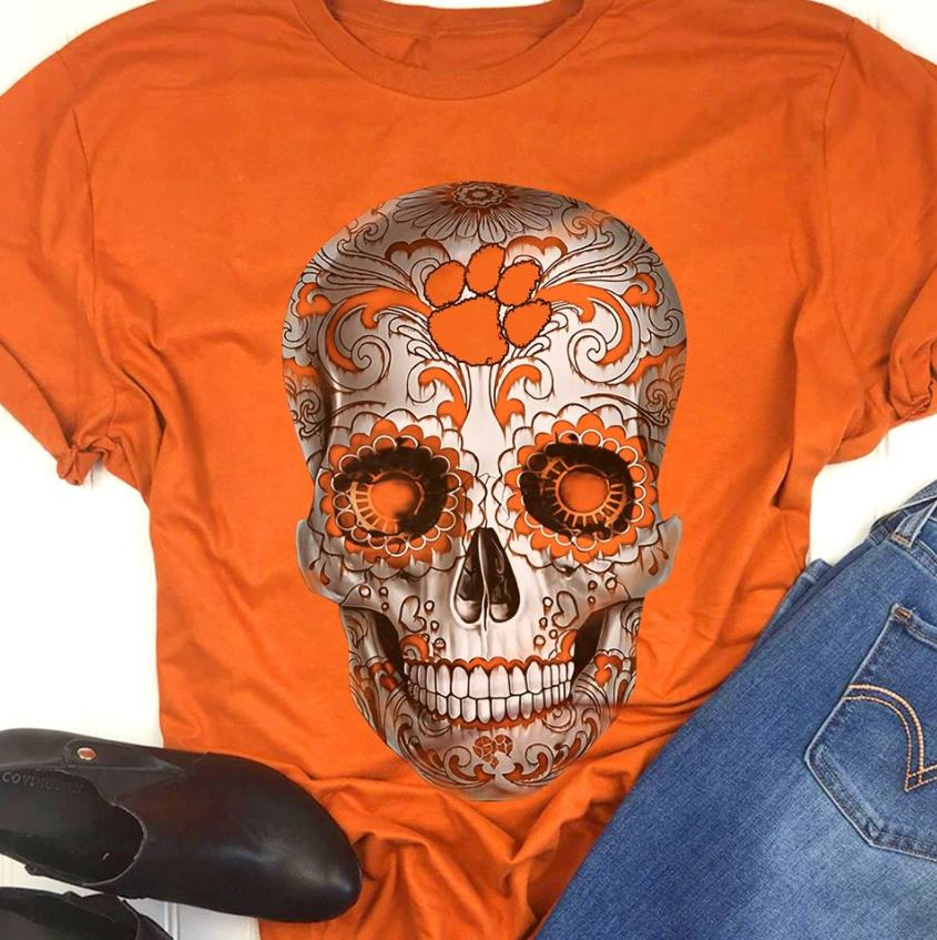 Clemson Tigers sugar skull shirt