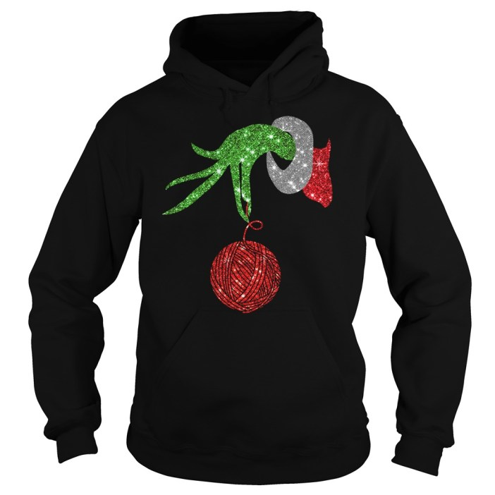 Grinch hand holdings crochet ornament shirt