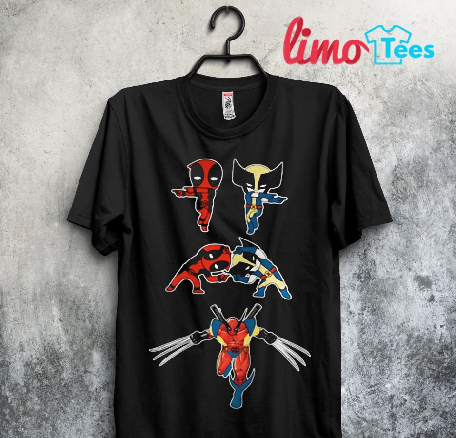 Baby Deadpool and Wolverine fusion dance shirt