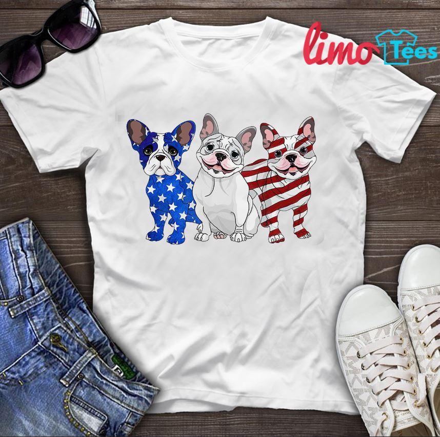 Three Frenchies Bulldog American flag shirt